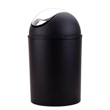 St@llion 6Stück Kunststoff Bad Zubehör Badezimmer Set, Lotionspender, Zahnbürstenhalter, Becher Cup, Seifenschale, Trash kann, WC-Bürste Set schwarz - 2
