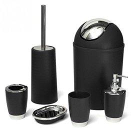 St@llion 6Stück Kunststoff Bad Zubehör Badezimmer Set, Lotionspender, Zahnbürstenhalter, Becher Cup, Seifenschale, Trash kann, WC-Bürste Set schwarz - 1