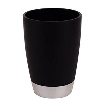 St@llion 6Stück Kunststoff Bad Zubehör Badezimmer Set, Lotionspender, Zahnbürstenhalter, Becher Cup, Seifenschale, Trash kann, WC-Bürste Set schwarz - 5