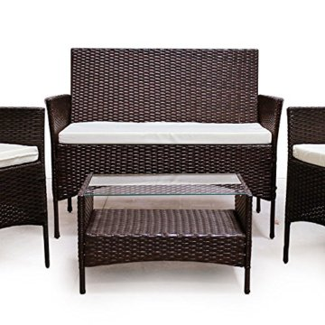 SVITA Poly Rattan Sitzgruppe Essgruppe Set Farbwahl - Cube Sofa-Garnitur Gartenmöbel Lounge Farbwahl (4er Garnitur, Braun) - 2