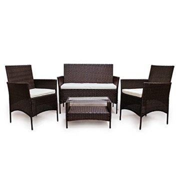 SVITA Poly Rattan Sitzgruppe Essgruppe Set Farbwahl - Cube Sofa-Garnitur Gartenmöbel Lounge Farbwahl (4er Garnitur, Braun) - 3