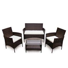 SVITA Poly Rattan Sitzgruppe Essgruppe Set Farbwahl - Cube Sofa-Garnitur Gartenmöbel Lounge Farbwahl (4er Garnitur, Braun) - 1