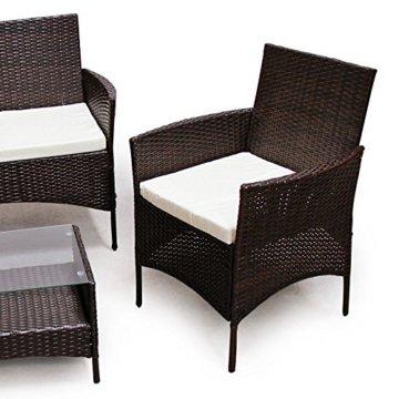 SVITA Poly Rattan Sitzgruppe Essgruppe Set Farbwahl - Cube Sofa-Garnitur Gartenmöbel Lounge Farbwahl (4er Garnitur, Braun) - 4