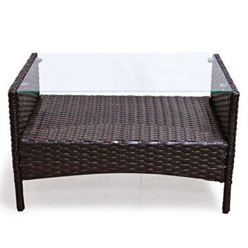 SVITA Poly Rattan Sitzgruppe Essgruppe Set Farbwahl - Cube Sofa-Garnitur Gartenmöbel Lounge Farbwahl (4er Garnitur, Braun) - 5