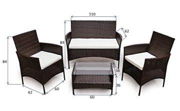 SVITA Poly Rattan Sitzgruppe Essgruppe Set Farbwahl - Cube Sofa-Garnitur Gartenmöbel Lounge Farbwahl (4er Garnitur, Braun) - 6
