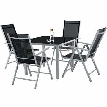 TecTake Aluminium Sitzgarnitur 4+1 Sitzgruppe Gartenmöbel Tisch & Stuhl Set - Diverse Farben - (Silber grau   Nr. 402169) - 2