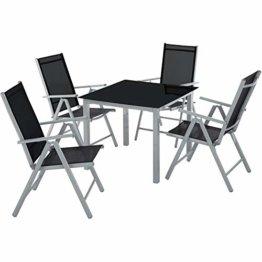 TecTake Aluminium Sitzgarnitur 4+1 Sitzgruppe Gartenmöbel Tisch & Stuhl Set - Diverse Farben - (Silber grau | Nr. 402169) - 1
