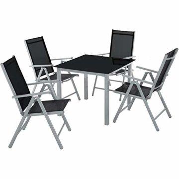 TecTake Aluminium Sitzgarnitur 4+1 Sitzgruppe Gartenmöbel Tisch & Stuhl Set - Diverse Farben - (Silber grau   Nr. 402169) - 1