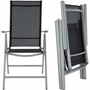 TecTake Aluminium Sitzgarnitur 4+1 Sitzgruppe Gartenmöbel Tisch & Stuhl Set - Diverse Farben - (Silber grau   Nr. 402169) - 5