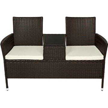 TecTake Sitzbank mit Tisch Poly Rattan Gartenbank Gartensofa inkl. Sitzkissen - Diverse Farben - (Schwarz-Braun | Nr. 401548) - 3