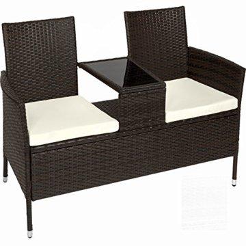 TecTake Sitzbank mit Tisch Poly Rattan Gartenbank Gartensofa inkl. Sitzkissen - Diverse Farben - (Schwarz-Braun | Nr. 401548) - 1