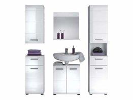 trendteam smart living Badezimmer 5-teilige Set Kombination Skin Gloss, 170 x 182 x 31 cm in Weiß Hochglanz mit viel Stauraum - 1