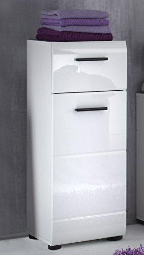 trendteam smart living Badezimmer Schrank Kommode Skin Gloss, 30 x 79 x 31 cm in Weiß Hochglanz mit Schubkasten - 3