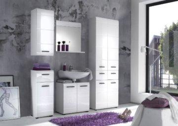 trendteam smart living Badezimmer Schrank Kommode Skin Gloss, 30 x 79 x 31 cm in Weiß Hochglanz mit Schubkasten - 4