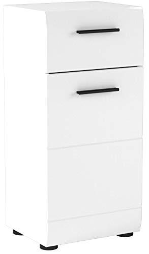 trendteam smart living Badezimmer Schrank Kommode Skin Gloss, 30 x 79 x 31 cm in Weiß Hochglanz mit Schubkasten - 7