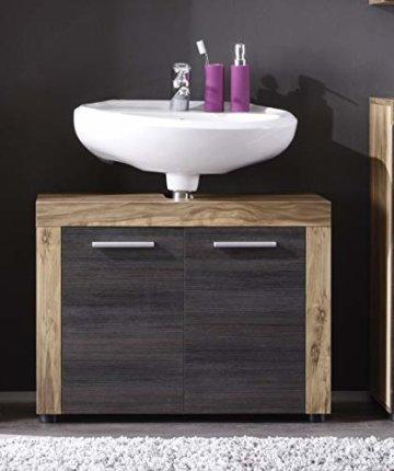 trendteam smart living Badezimmer Waschbeckenunterschrank Unterschrank Cancun Boom, 72 x 56 x 34 cm in Nussbaum Satin (Nb.) mit Siphonausschnitt - 2