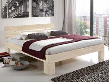 Unbekannt Massivholz-Bett Nano weiß 180 x 200 cm aus Kernbuche, Doppelbett, als Ehebett verwendbar, inkl. Rückenlehne, 1 Bett á 180 x 200 cm - 2