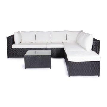 Vanage Montreal Gartenmöbel-Set XXXL, schöne Polyrattan Lounge Möbel für Garten, Balkon und Terrasse 2 Dreisitzer, schwarz/weiß - 1