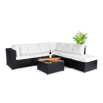 Vanage Montreal Gartenmöbel-Set XXXL, schöne Polyrattan Lounge Möbel für Garten, Balkon und Terrasse 2 Dreisitzer, schwarz/weiß - 7