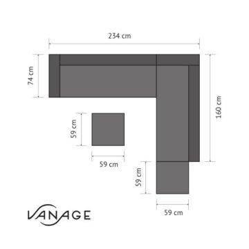 Vanage Montreal Gartenmöbel-Set XXXL, schöne Polyrattan Lounge Möbel für Garten, Balkon und Terrasse 2 Dreisitzer, schwarz/weiß - 9