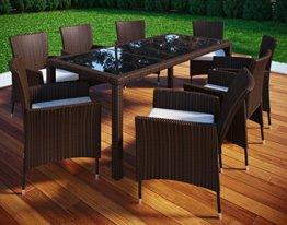 VCM Poly Rattan 190x90 Gartenmöbel Essgruppe Sitzgruppe Glas Rattanmöbel Gartenset 6 Stühle + 1 Tisch, Braun - 1