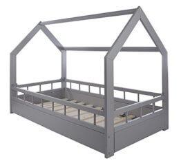 Velinda Kinderbett Hausbett Spielbett Abenteuerbett Einzelbett mit Absturzsicherung (Farbe: Grau) - 1