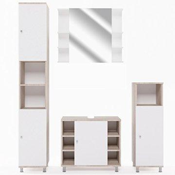 VICCO Badmöbel Set Badezimmermöbel FYNN Spiegel + Unterschrank + Midischrank + Hochschrank (Set 4, Eiche Sonoma) - 1