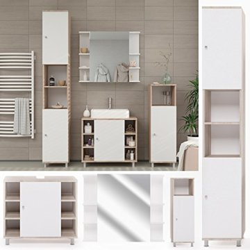 VICCO Badmöbel Set Badezimmermöbel FYNN Spiegel + Unterschrank + Midischrank + Hochschrank (Set 4, Eiche Sonoma) - 3