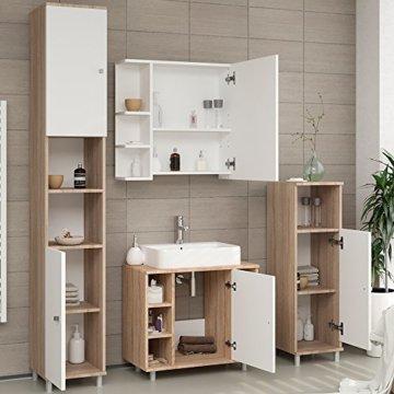 VICCO Badmöbel Set Badezimmermöbel FYNN Spiegel + Unterschrank + Midischrank + Hochschrank (Set 4, Eiche Sonoma) - 5