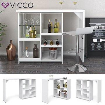 Vicco Bartisch Bar Vega Weiß Tresen Bartresen Stehtisch Tisch Tresentisch Bistrotisch Küche +++ FLEXIBEL STELLBAR +++ VIEL STAURAUM +++ - 2