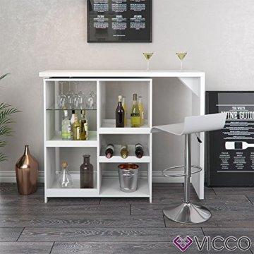 Vicco Bartisch Bar Vega Weiß Tresen Bartresen Stehtisch Tisch Tresentisch Bistrotisch Küche +++ FLEXIBEL STELLBAR +++ VIEL STAURAUM +++ - 3