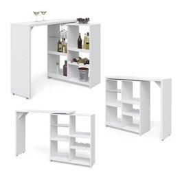Vicco Bartisch Bar Vega Weiß Tresen Bartresen Stehtisch Tisch Tresentisch Bistrotisch Küche +++ FLEXIBEL STELLBAR +++ VIEL STAURAUM +++ - 1