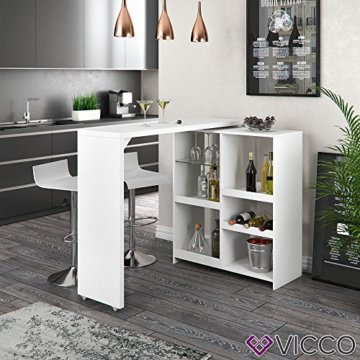 Vicco Bartisch Bar Vega Weiß Tresen Bartresen Stehtisch Tisch Tresentisch Bistrotisch Küche +++ FLEXIBEL STELLBAR +++ VIEL STAURAUM +++ - 4