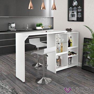 Vicco Bartisch Bar Vega Weiß Tresen Bartresen Stehtisch Tisch Tresentisch Bistrotisch Küche +++ FLEXIBEL STELLBAR +++ VIEL STAURAUM +++ - 5