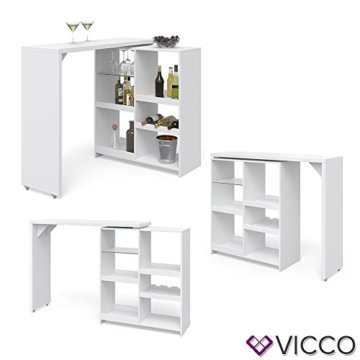 Vicco Bartisch Bar Vega Weiß Tresen Bartresen Stehtisch Tisch Tresentisch Bistrotisch Küche +++ FLEXIBEL STELLBAR +++ VIEL STAURAUM +++ - 6