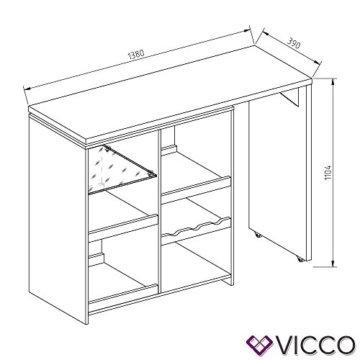 Vicco Bartisch Bar Vega Weiß Tresen Bartresen Stehtisch Tisch Tresentisch Bistrotisch Küche +++ FLEXIBEL STELLBAR +++ VIEL STAURAUM +++ - 7