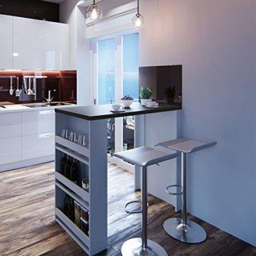 Vicco Bartisch Bar Weiß Anthrazit Tresen Bartresen Stehtisch Tisch Tresentisch Bistrotisch Küche Mir 3 Extra Fächern - 2