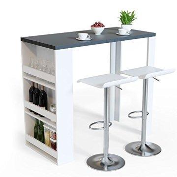 Vicco Bartisch Bar Weiß Anthrazit Tresen Bartresen Stehtisch Tisch Tresentisch Bistrotisch Küche Mir 3 Extra Fächern - 4