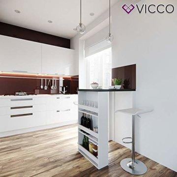 Vicco Bartisch Bar Weiß Anthrazit Tresen Bartresen Stehtisch Tisch Tresentisch Bistrotisch Küche mit 3 extra Fächern - 2