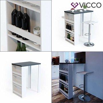 Vicco Bartisch Bar Weiß Anthrazit Tresen Bartresen Stehtisch Tisch Tresentisch Bistrotisch Küche mit 3 extra Fächern - 4