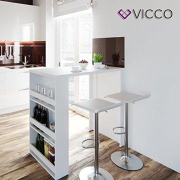 Vicco Bartisch Bar Weiß Tresen Bartresen Stehtisch Tisch Tresentisch Bistrotisch Küche Mir 3 Extra Fächern - 2