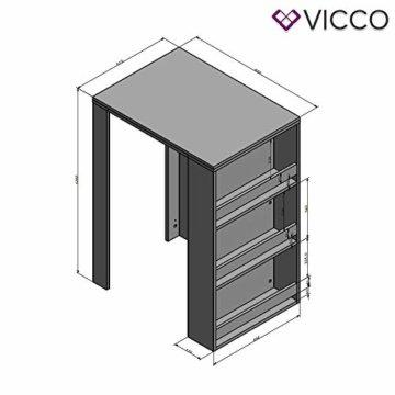 Vicco Bartisch Bar Weiß Tresen Bartresen Stehtisch Tisch Tresentisch Bistrotisch Küche mit 3 extra Fächern - 7