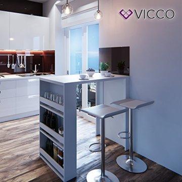 Vicco Bartisch Bar Weiß Tresen Bartresen Stehtisch Tisch Tresentisch Bistrotisch Küche Mir 3 Extra Fächern - 3