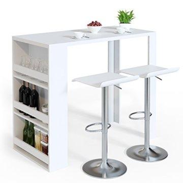 Vicco Bartisch Bar Weiß Tresen Bartresen Stehtisch Tisch Tresentisch Bistrotisch Küche Mir 3 Extra Fächern - 4