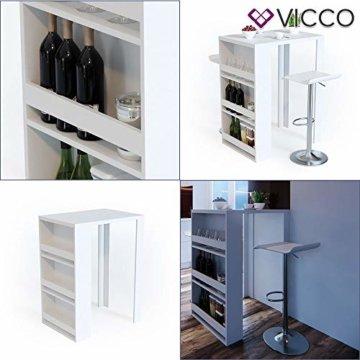Vicco Bartisch Bar Weiß Tresen Bartresen Stehtisch Tisch Tresentisch Bistrotisch Küche mit 3 extra Fächern - 2