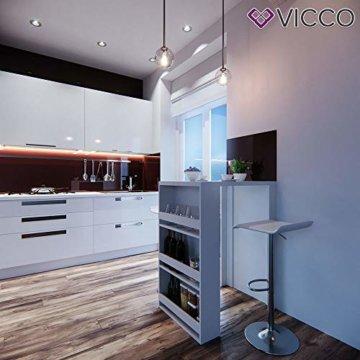 Vicco Bartisch Bar Weiß Tresen Bartresen Stehtisch Tisch Tresentisch Bistrotisch Küche mit 3 extra Fächern - 3
