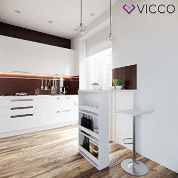 Vicco Bartisch Bar Weiß Tresen Bartresen Stehtisch Tisch Tresentisch Bistrotisch Küche mit 3 extra Fächern - 4