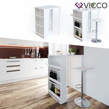 Vicco Bartisch Bar Weiß Tresen Bartresen Stehtisch Tisch Tresentisch Bistrotisch Küche mit 3 extra Fächern - 5