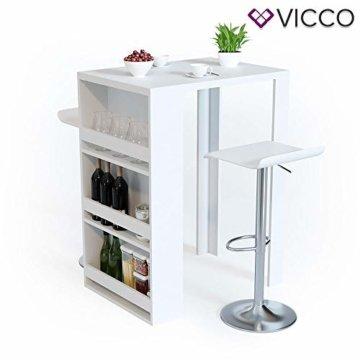 Vicco Bartisch Bar Weiß Tresen Bartresen Stehtisch Tisch Tresentisch Bistrotisch Küche mit 3 extra Fächern - 6