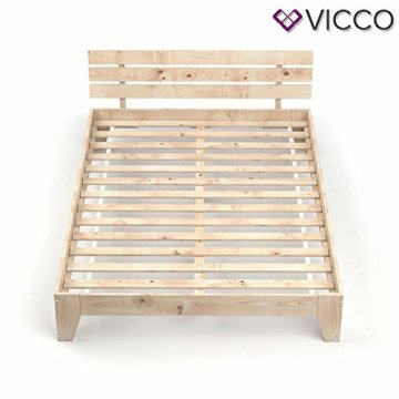 Vicco Holzbett Korfu Futonbett 140x200cm Kiefer Doppelbett Bettgestell Massivholz in weiß oder Natur lackiert (Naturlack) - 4
